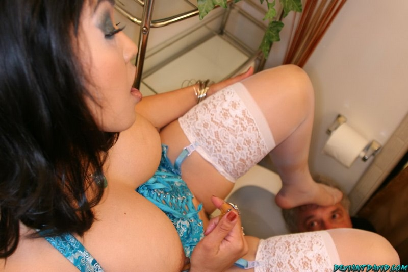 Hotbusty asian and oldfart femdom footdom with facesitting act